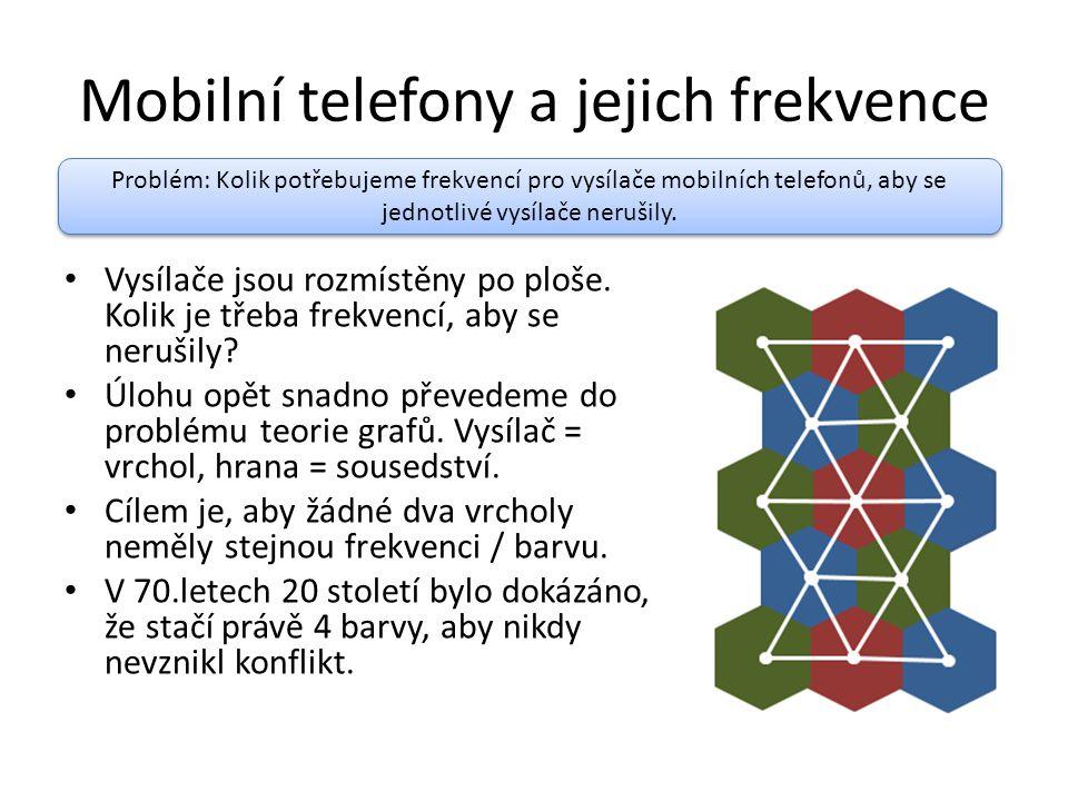 Mobilní telefony a jejich frekvence Vysílače jsou rozmístěny po ploše. Kolik je třeba frekvencí, aby se nerušily? Úlohu opět snadno převedeme do probl