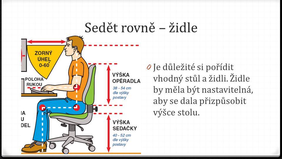 Sedět rovně – židle 0 Je důležité si pořídit vhodný stůl a židli. Židle by měla být nastavitelná, aby se dala přizpůsobit výšce stolu.