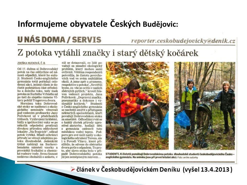 Informujeme obyvatele Českých Budějovic:  článek v Českobudějovickém Deníku (vyšel 13.4.2013 )
