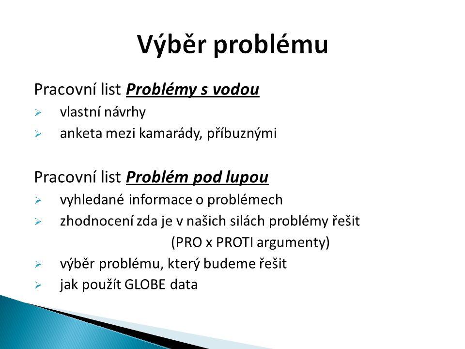 Pracovní list Problémy s vodou  vlastní návrhy  anketa mezi kamarády, příbuznými Pracovní list Problém pod lupou  vyhledané informace o problémech