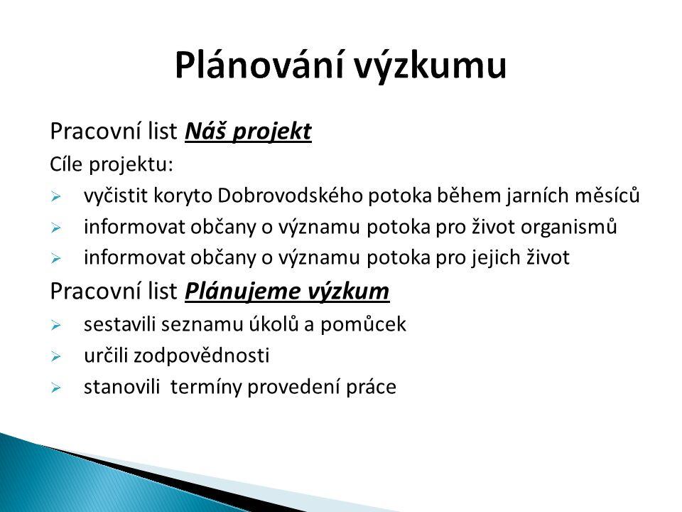 Pracovní list Náš projekt Cíle projektu:  vyčistit koryto Dobrovodského potoka během jarních měsíců  informovat občany o významu potoka pro život or