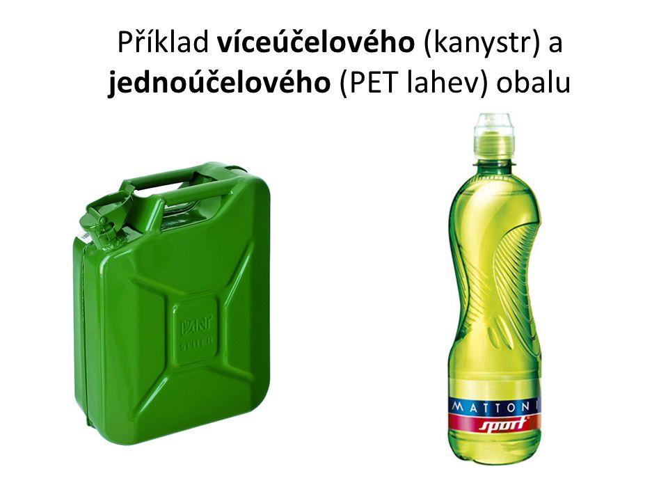 Příklad víceúčelového (kanystr) a jednoúčelového (PET lahev) obalu
