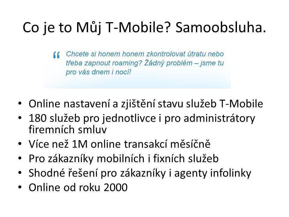 Co je to Můj T-Mobile? Samoobsluha. Online nastavení a zjištění stavu služeb T-Mobile 180 služeb pro jednotlivce i pro administrátory firemních smluv