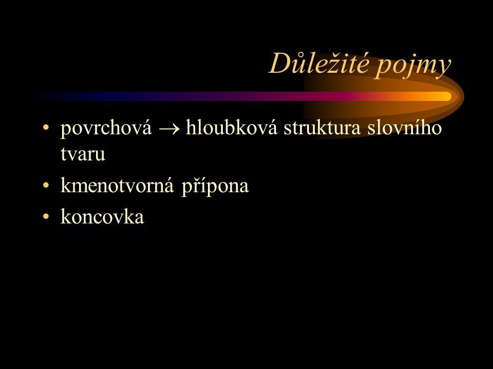 Důležité pojmy povrchová  hloubková struktura slovního tvaru kmenotvorná přípona koncovka