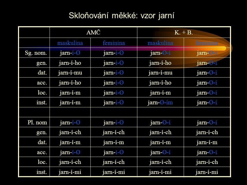 AMČK. + B. maskulinafemininamaskulinafeminina Sg. nom.jarn-í-Ø jarn-Ø-í gen.jarn-í-hojarn-í-Øjarn-í-hojarn-Ø-í dat.jarn-í-mujarn-í-Øjarn-í-mujarn-Ø-í
