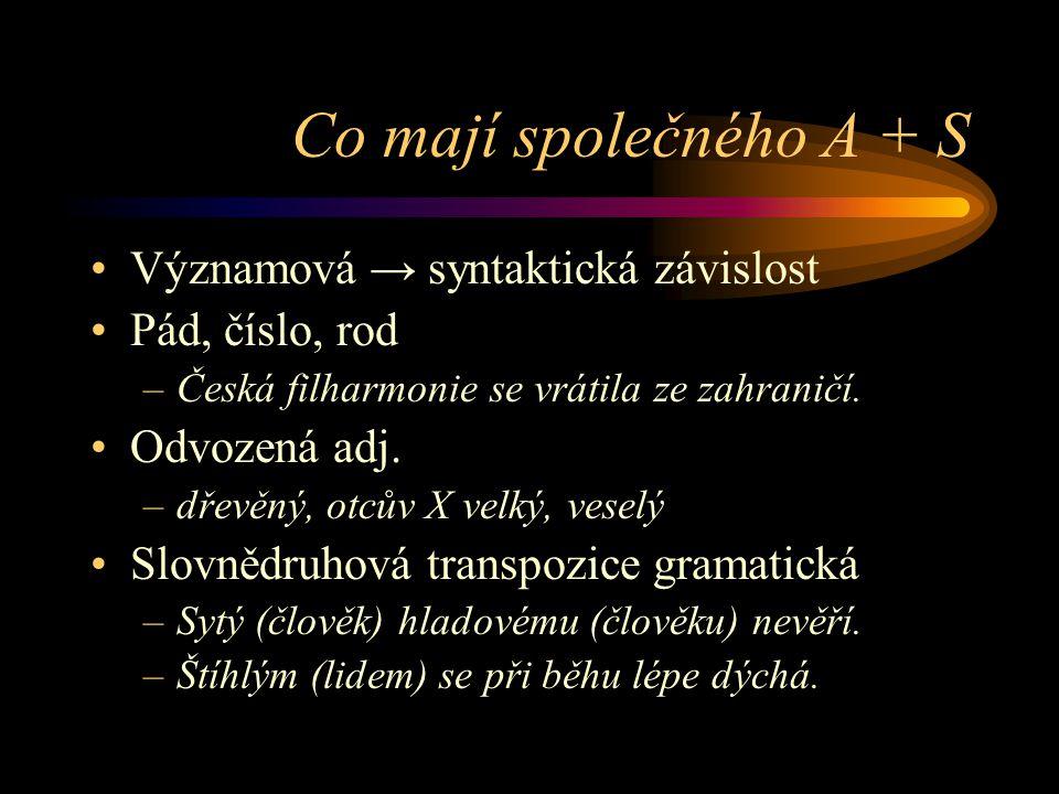 Co mají společného A + S Významová → syntaktická závislost Pád, číslo, rod –Česká filharmonie se vrátila ze zahraničí. Odvozená adj. –dřevěný, otcův X