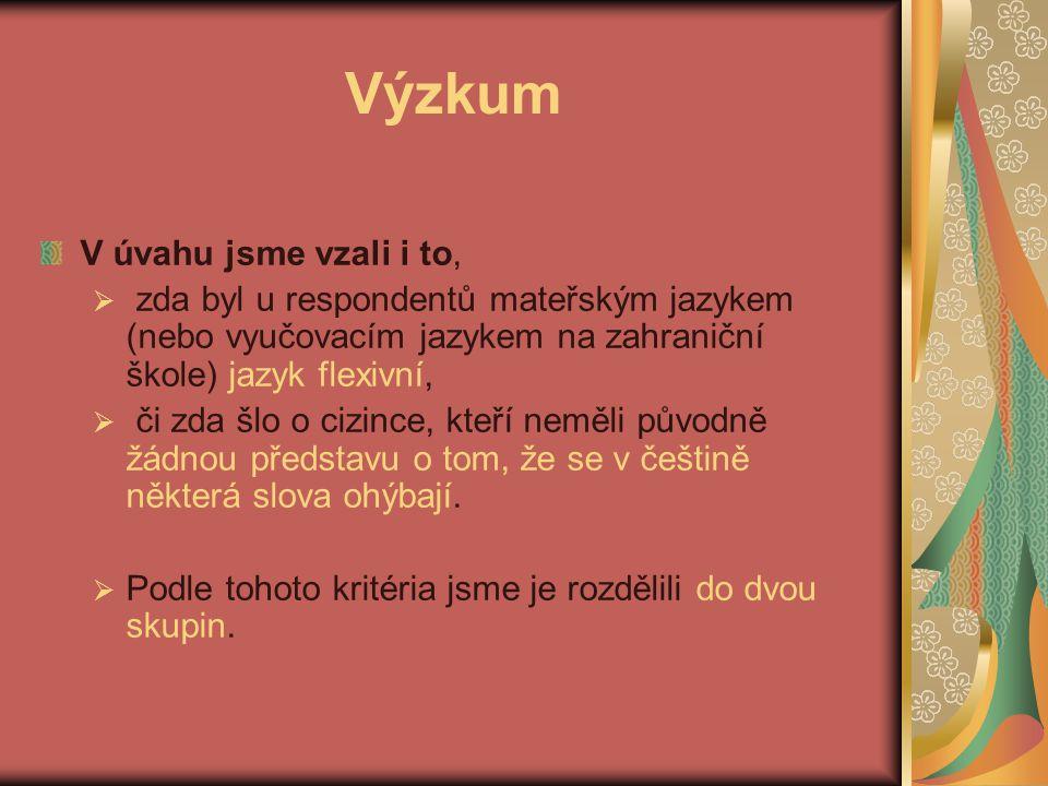 Výzkum V úvahu jsme vzali i to,  zda byl u respondentů mateřským jazykem (nebo vyučovacím jazykem na zahraniční škole) jazyk flexivní,  či zda šlo o cizince, kteří neměli původně žádnou představu o tom, že se v češtině některá slova ohýbají.
