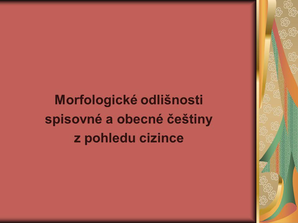 Morfologické odlišnosti spisovné a obecné češtiny z pohledu cizince