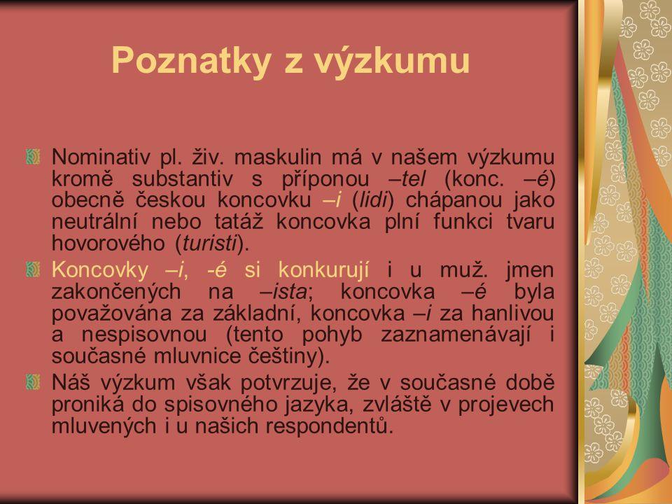 Poznatky z výzkumu Nominativ pl. živ.