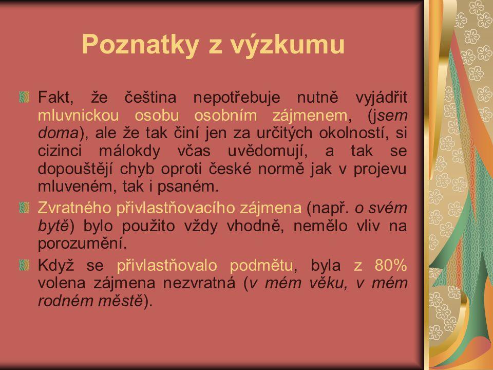 Poznatky z výzkumu Fakt, že čeština nepotřebuje nutně vyjádřit mluvnickou osobu osobním zájmenem, (jsem doma), ale že tak činí jen za určitých okolností, si cizinci málokdy včas uvědomují, a tak se dopouštějí chyb oproti české normě jak v projevu mluveném, tak i psaném.