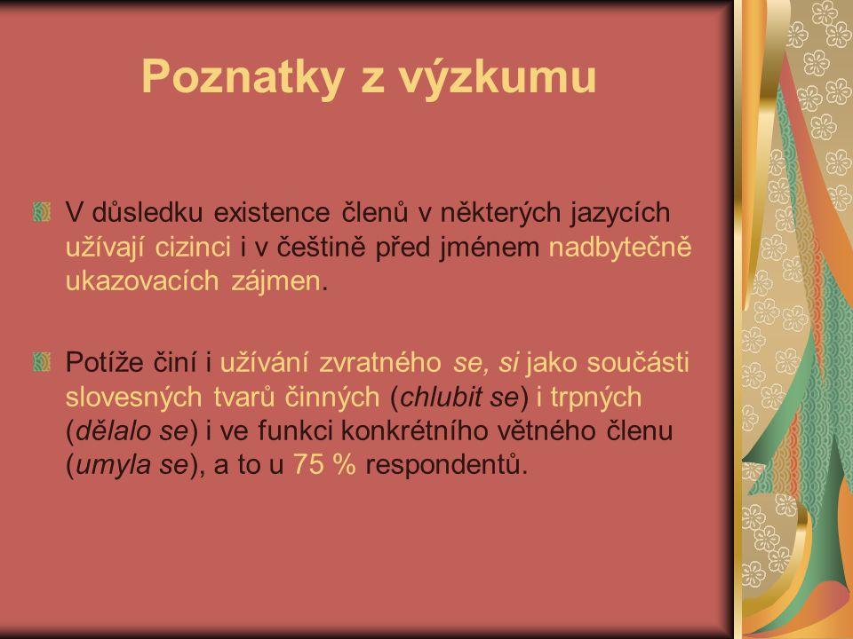 Poznatky z výzkumu V důsledku existence členů v některých jazycích užívají cizinci i v češtině před jménem nadbytečně ukazovacích zájmen.