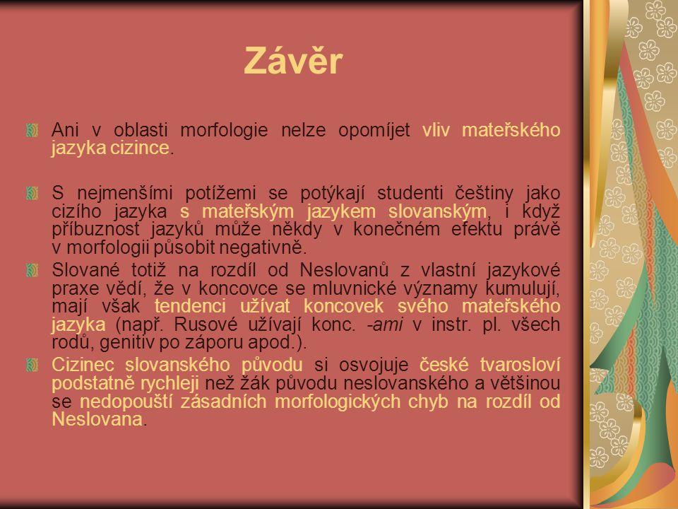 Závěr Ani v oblasti morfologie nelze opomíjet vliv mateřského jazyka cizince.
