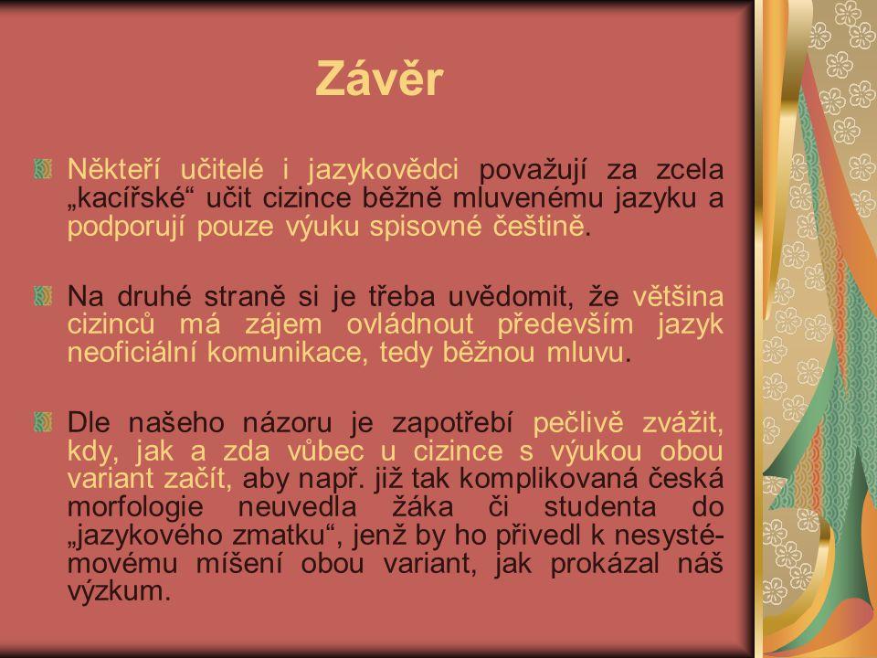 """Závěr Někteří učitelé i jazykovědci považují za zcela """"kacířské učit cizince běžně mluvenému jazyku a podporují pouze výuku spisovné češtině."""