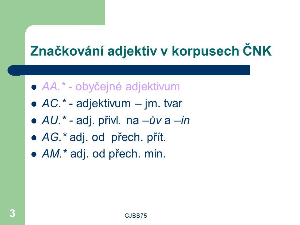 CJBB75 3 Značkování adjektiv v korpusech ČNK AA.* - obyčejné adjektivum AC.* - adjektivum – jm. tvar AU.* - adj. přivl. na –ův a –in AG.* adj. od přec