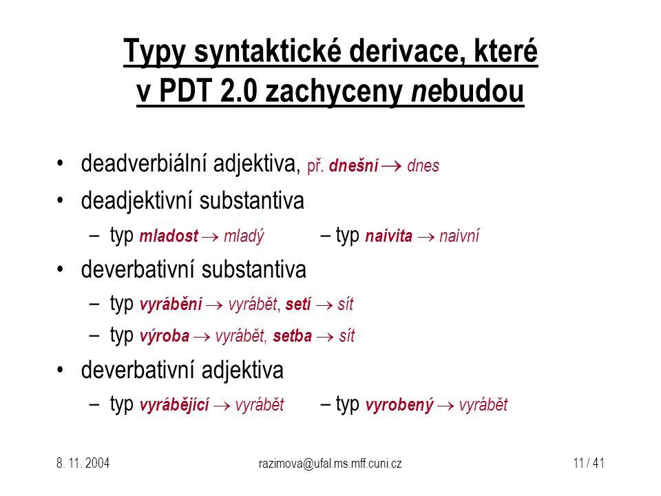 8. 11. 2004razimova@ufal.ms.mff.cuni.cz 11 / 41 Typy syntaktické derivace, které v PDT 2.0 zachyceny ne budou deadverbiální adjektiva, př. dnešní  dn