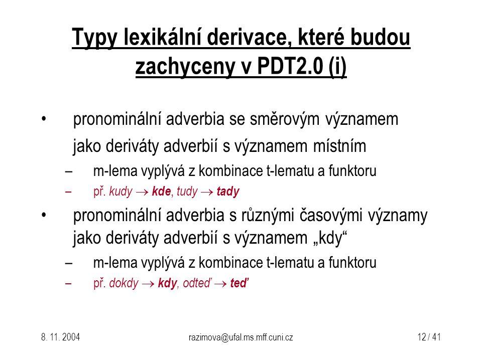 8. 11. 2004razimova@ufal.ms.mff.cuni.cz 12 / 41 Typy lexikální derivace, které budou zachyceny v PDT2.0(i) pronominální adverbia se směrovým významem