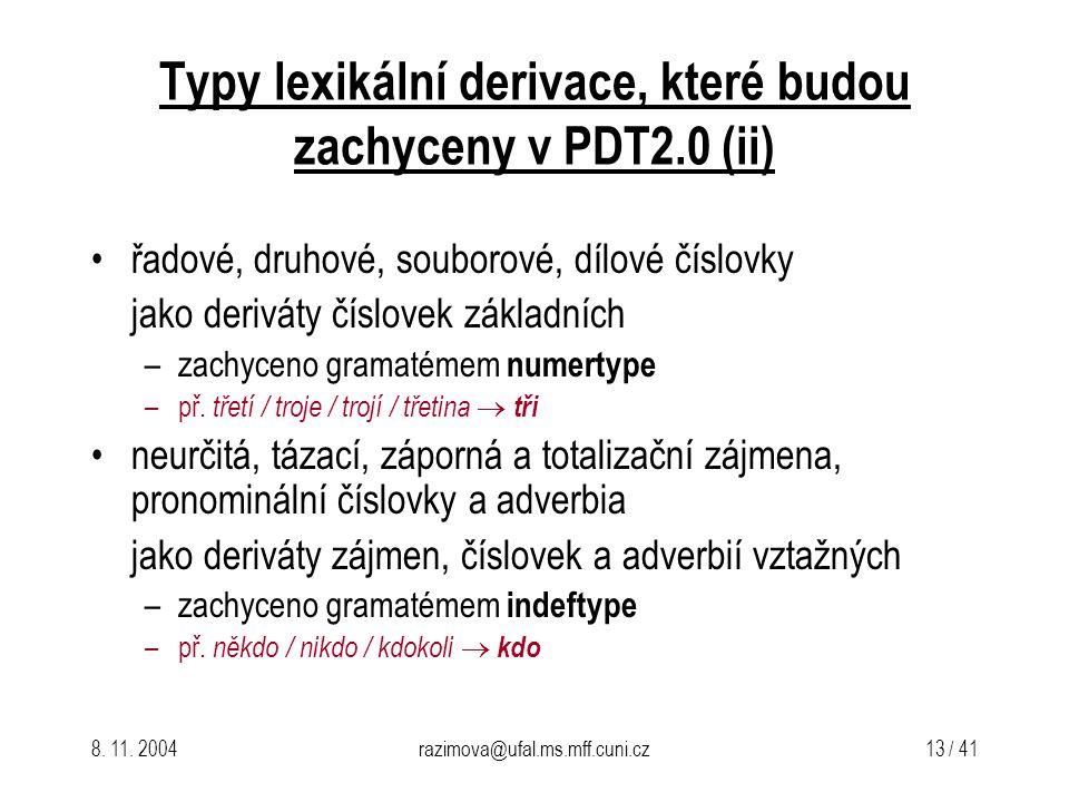 8. 11. 2004razimova@ufal.ms.mff.cuni.cz 13 / 41 Typy lexikální derivace, které budou zachyceny v PDT2.0(ii) řadové, druhové, souborové, dílové číslovk