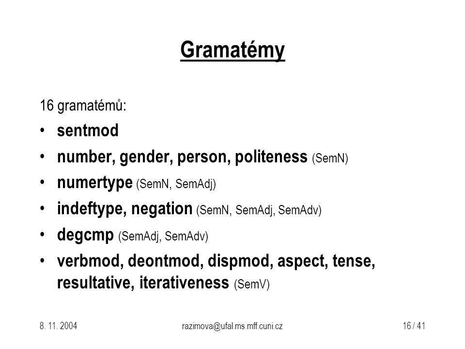 8. 11. 2004razimova@ufal.ms.mff.cuni.cz 16 / 41 Gramatémy 16 gramatémů: sentmod number, gender, person, politeness (SemN) numertype (SemN, SemAdj) ind
