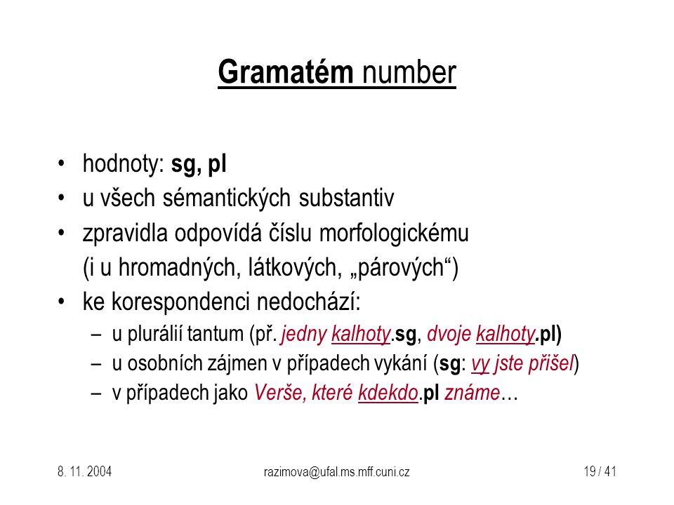 8. 11. 2004razimova@ufal.ms.mff.cuni.cz 19 / 41 Gramatém number hodnoty: sg, pl u všech sémantických substantiv zpravidla odpovídá číslu morfologickém