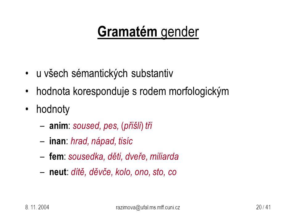 8. 11. 2004razimova@ufal.ms.mff.cuni.cz 20 / 41 Gramatém gender u všech sémantických substantiv hodnota koresponduje s rodem morfologickým hodnoty – a
