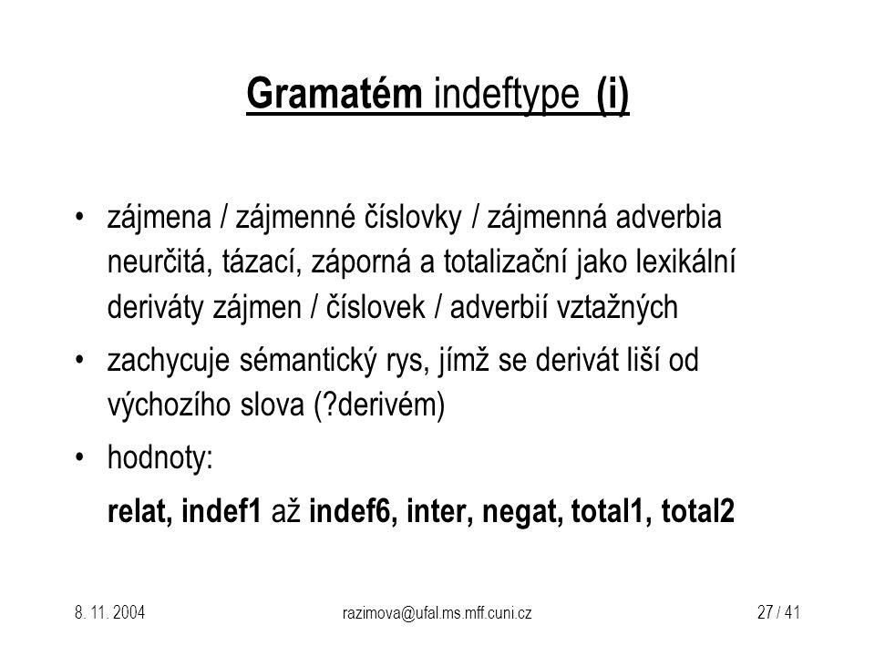 8. 11. 2004razimova@ufal.ms.mff.cuni.cz 27 / 41 Gramatém indeftype (i) zájmena / zájmenné číslovky / zájmenná adverbia neurčitá, tázací, záporná a tot