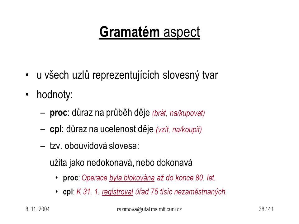 8. 11. 2004razimova@ufal.ms.mff.cuni.cz 38 / 41 Gramatém aspect u všech uzlů reprezentujících slovesný tvar hodnoty: – proc : důraz na průběh děje (br