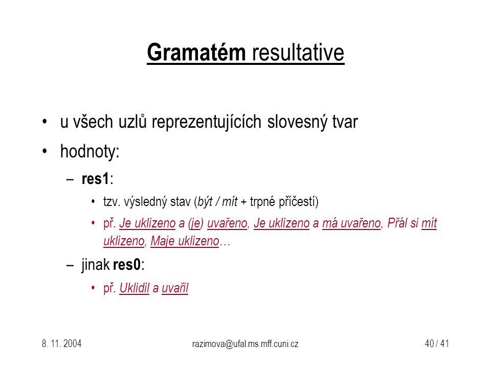 8. 11. 2004razimova@ufal.ms.mff.cuni.cz 40 / 41 Gramatém resultative u všech uzlů reprezentujících slovesný tvar hodnoty: – res1 : tzv. výsledný stav