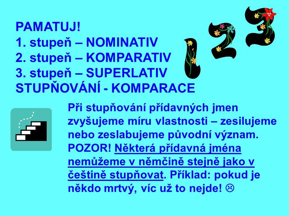 PAMATUJ! 1. stupeň – NOMINATIV 2. stupeň – KOMPARATIV 3. stupeň – SUPERLATIV STUPŇOVÁNÍ - KOMPARACE Při stupňování přídavných jmen zvyšujeme míru vlas