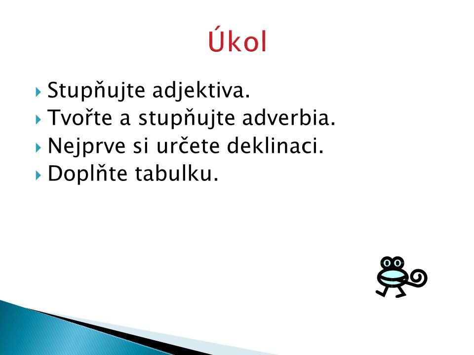  Stupňujte adjektiva.  Tvořte a stupňujte adverbia.