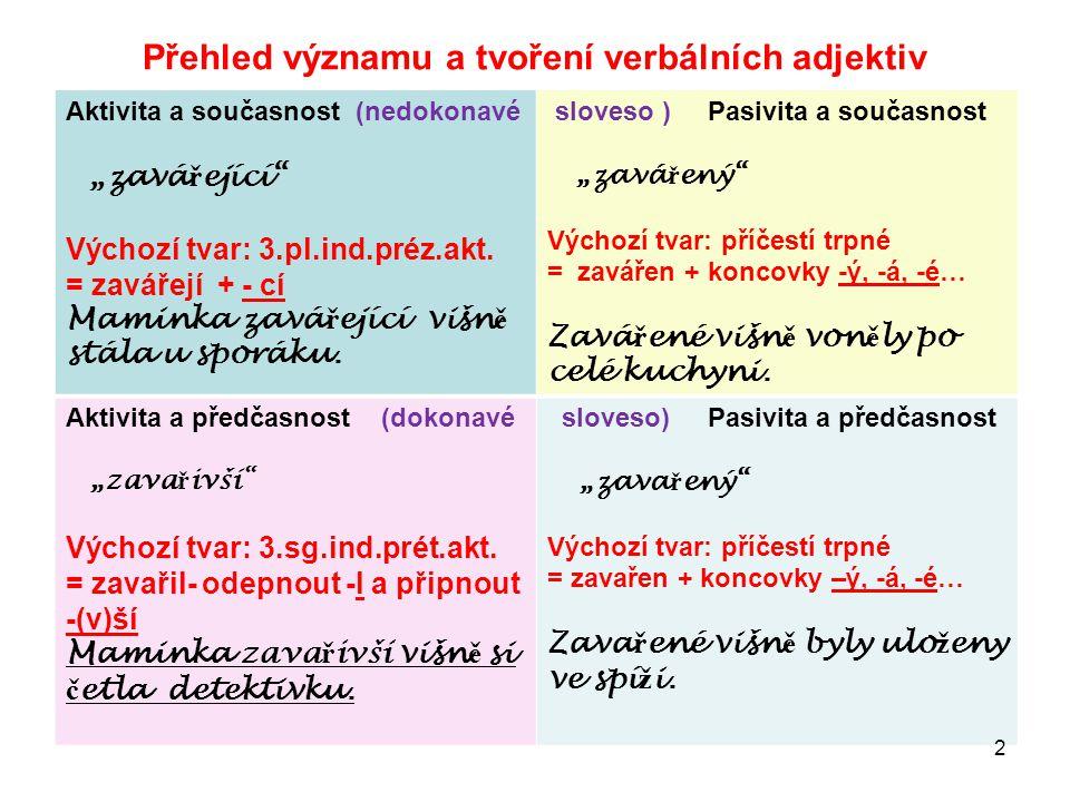 """Přehled významu a tvoření verbálních adjektiv Aktivita a současnost (nedokonavé """"zavá ř ející Výchozí tvar: 3.pl.ind.préz.akt."""