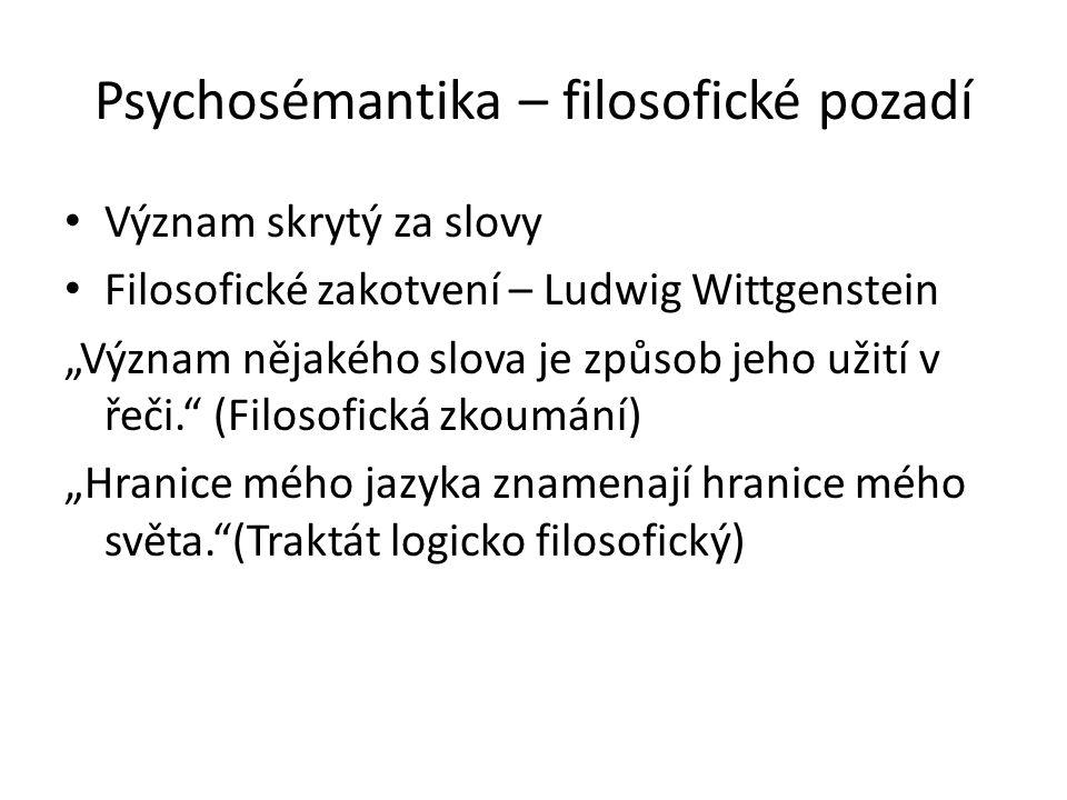 """Psychosémantika – filosofické pozadí Význam skrytý za slovy Filosofické zakotvení – Ludwig Wittgenstein """"Význam nějakého slova je způsob jeho užití v"""