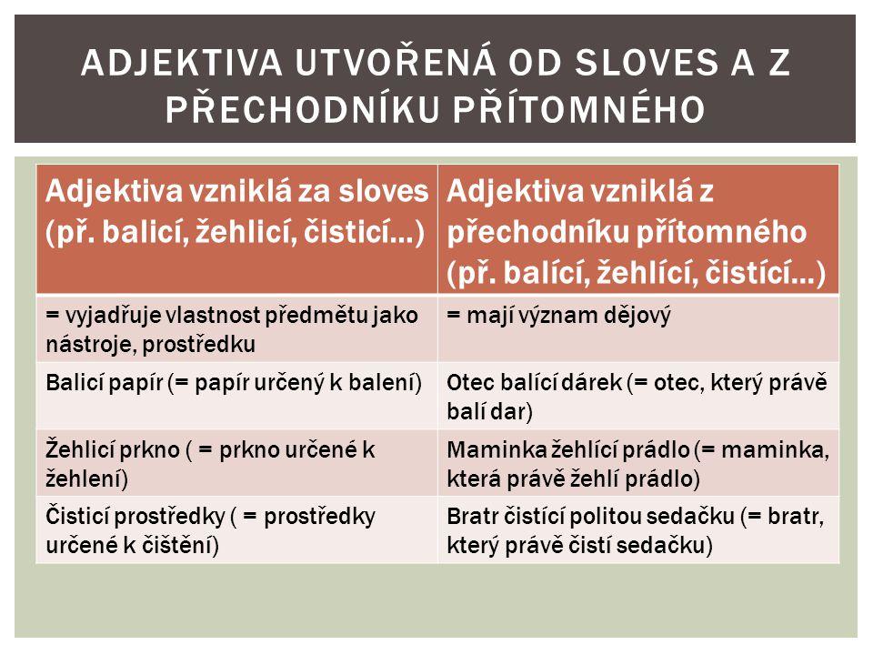 Adjektiva vzniklá za sloves (př.