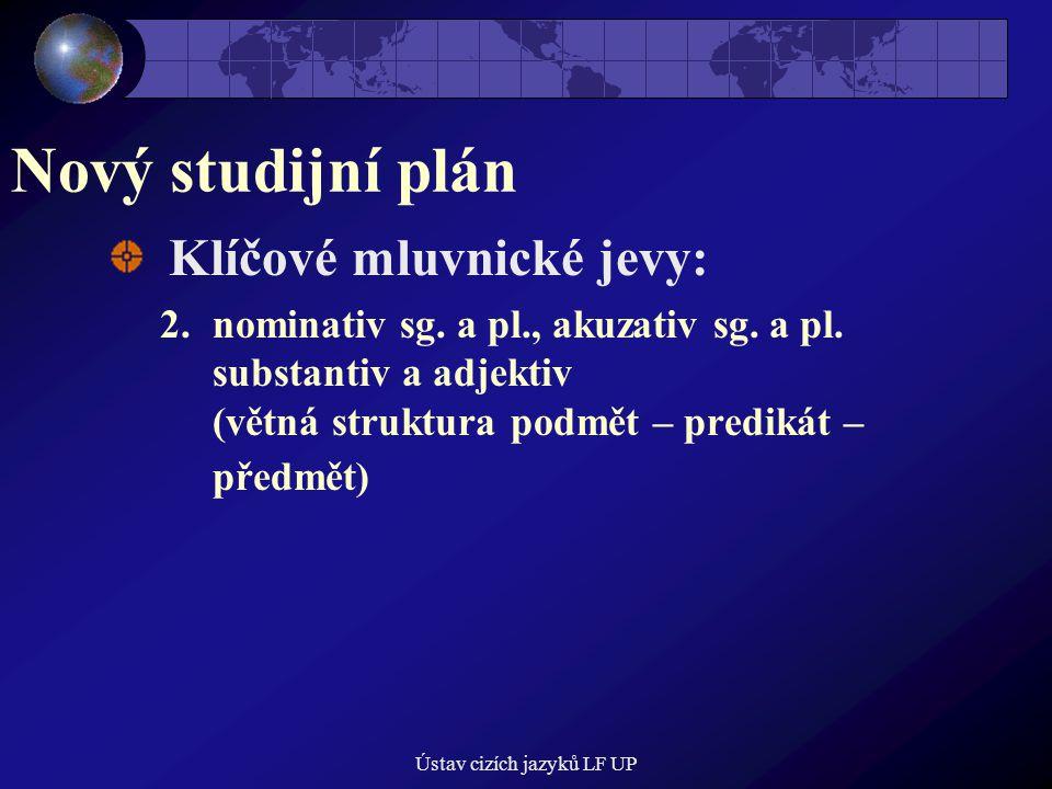 Ústav cizích jazyků LF UP Nový studijní plán Klíčové mluvnické jevy: 2.nominativ sg.