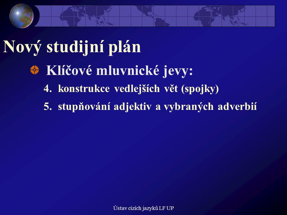 Ústav cizích jazyků LF UP Nový studijní plán Klíčové mluvnické jevy: 4.konstrukce vedlejších vět (spojky) 5.stupňování adjektiv a vybraných adverbií