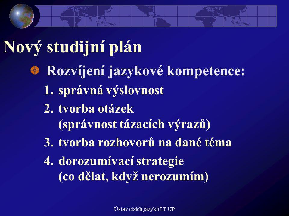 Ústav cizích jazyků LF UP Nový studijní plán Rozvíjení jazykové kompetence: 1.správná výslovnost 2.tvorba otázek (správnost tázacích výrazů) 3.tvorba rozhovorů na dané téma 4.dorozumívací strategie (co dělat, když nerozumím)