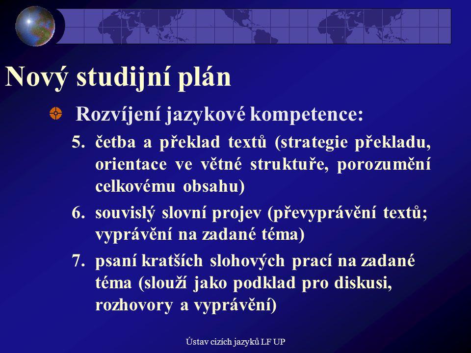 Ústav cizích jazyků LF UP Nový studijní plán Rozvíjení jazykové kompetence: 5.četba a překlad textů (strategie překladu, orientace ve větné struktuře, porozumění celkovému obsahu) 6.souvislý slovní projev (převyprávění textů; vyprávění na zadané téma) 7.psaní kratších slohových prací na zadané téma (slouží jako podklad pro diskusi, rozhovory a vyprávění)