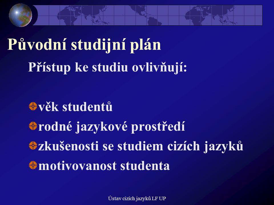 Ústav cizích jazyků LF UP Původní studijní plán Přístup ke studiu ovlivňují: věk studentů rodné jazykové prostředí zkušenosti se studiem cizích jazyků motivovanost studenta