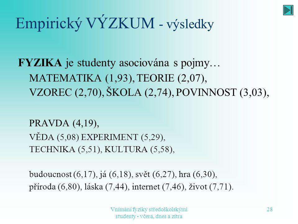 Vnímání fyziky středoškolskými studenty - včera, dnes a zítra 28 Empirický VÝZKUM - výsledky FYZIKA je studenty asociována s pojmy… MATEMATIKA (1,93),