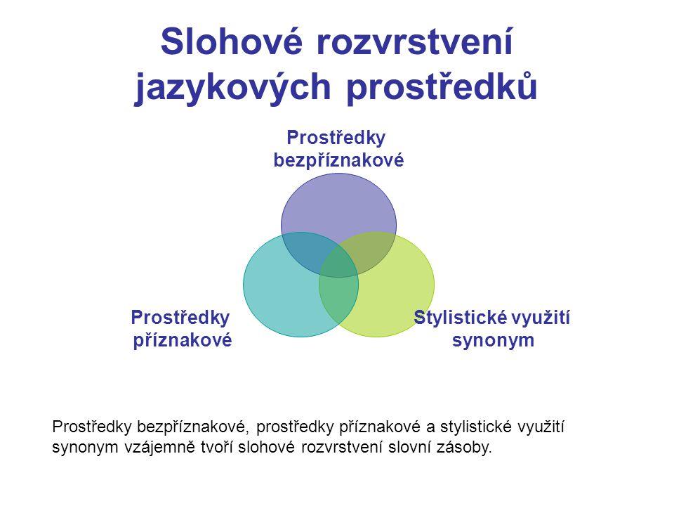 Slohové rozvrstvení jazykových prostředků Prostředky bezpříznakové Stylistické využití synonym Prostředky příznakové Prostředky bezpříznakové, prostře