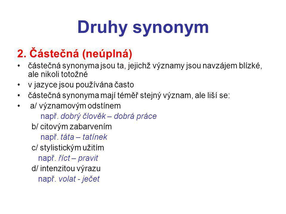 Druhy synonym 2.