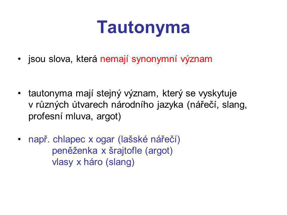 Tautonyma jsou slova, která nemají synonymní význam tautonyma mají stejný význam, který se vyskytuje v různých útvarech národního jazyka (nářečí, slang, profesní mluva, argot) např.