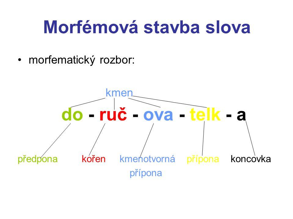 Morfémová stavba slova morfematický rozbor: kmen do - ruč - ova - telk - a předpona kořen kmenotvorná přípona koncovka přípona