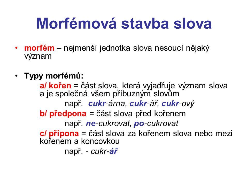 Morfémová stavba slova morfém – nejmenší jednotka slova nesoucí nějaký význam Typy morfémů: a/ kořen = část slova, která vyjadřuje význam slova a je společná všem příbuzným slovům např.