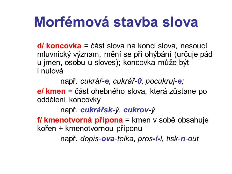 Morfémová stavba slova d/ koncovka = část slova na konci slova, nesoucí mluvnický význam, mění se při ohýbání (určuje pád u jmen, osobu u sloves); koncovka může být i nulová např.