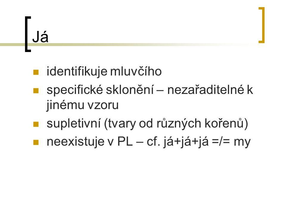 Já identifikuje mluvčího specifické sklonění – nezařaditelné k jinému vzoru supletivní (tvary od různých kořenů) neexistuje v PL – cf.