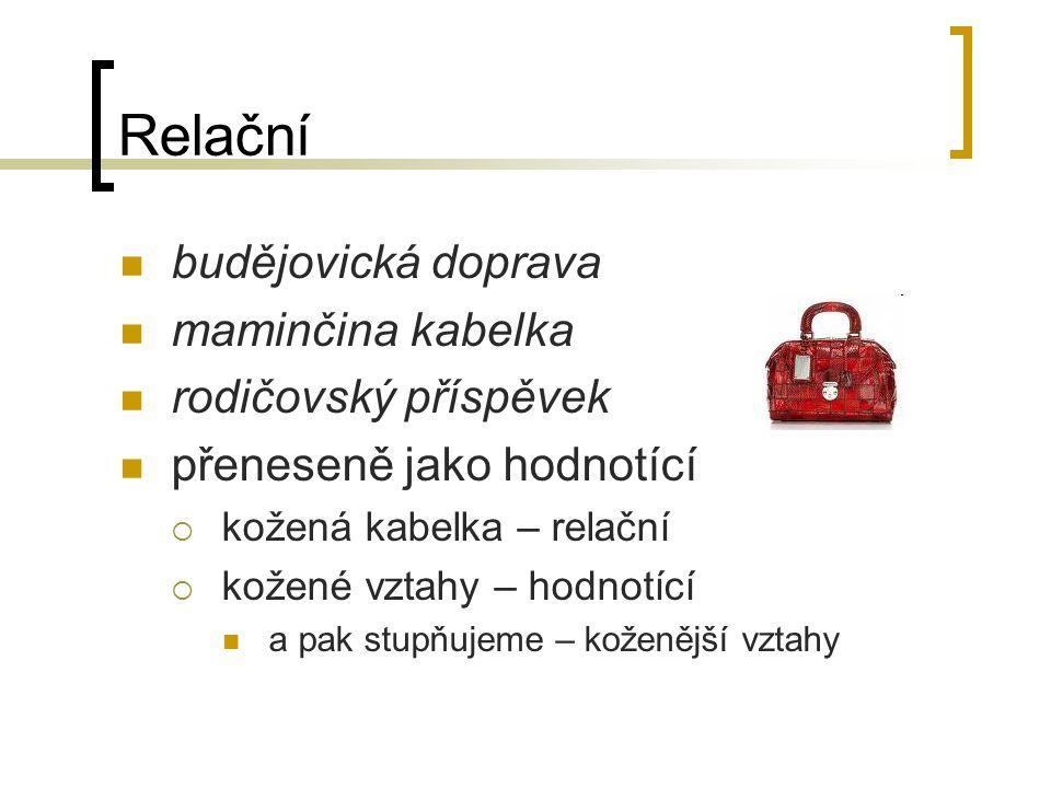 Relační budějovická doprava maminčina kabelka rodičovský příspěvek přeneseně jako hodnotící  kožená kabelka – relační  kožené vztahy – hodnotící a pak stupňujeme – koženější vztahy