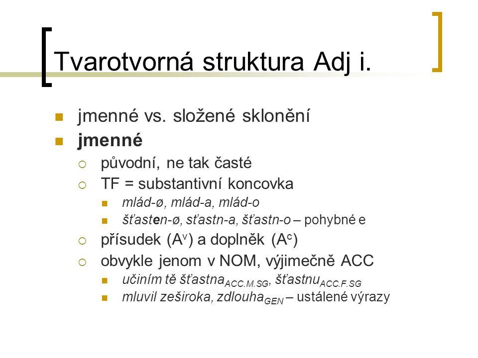 Tvarotvorná struktura Adj i.jmenné vs.