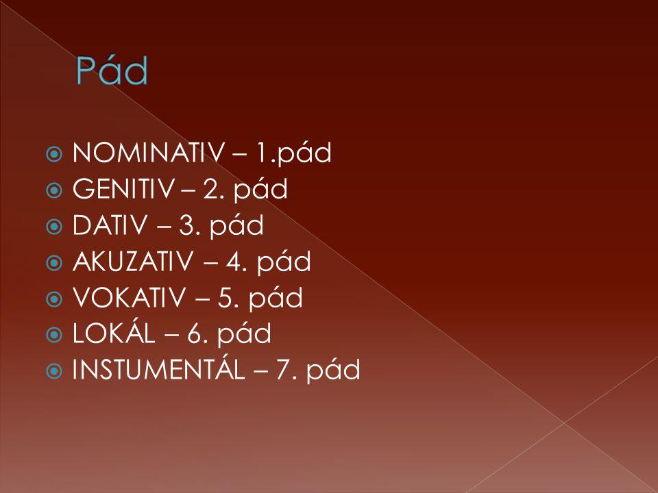  NOMINATIV – 1.pád  GENITIV – 2. pád  DATIV – 3. pád  AKUZATIV – 4. pád  VOKATIV – 5. pád  LOKÁL – 6. pád  INSTUMENTÁL – 7. pád