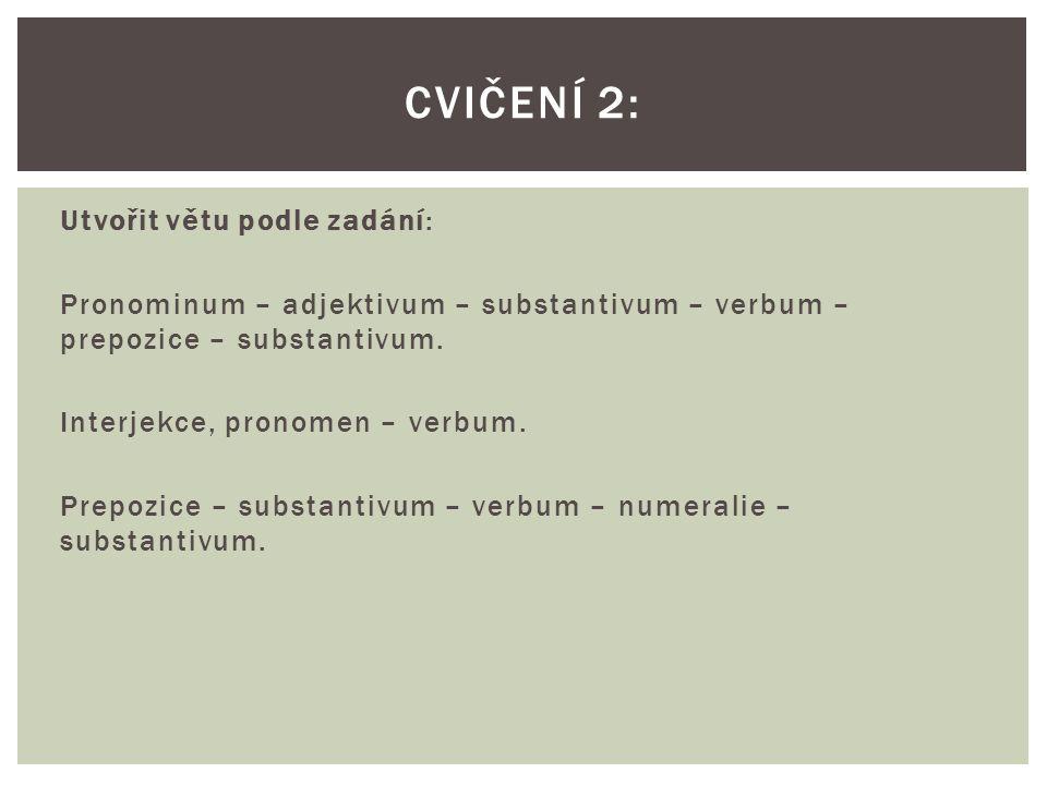 Utvořit větu podle zadání: Pronominum – adjektivum – substantivum – verbum – prepozice – substantivum.
