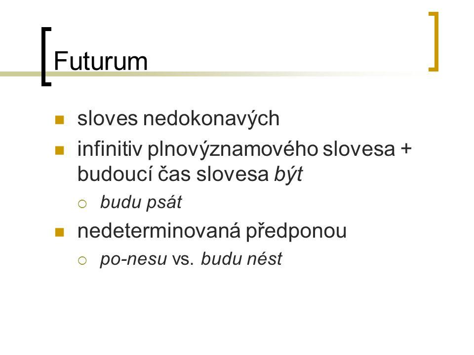 Futurum sloves nedokonavých infinitiv plnovýznamového slovesa + budoucí čas slovesa být  budu psát nedeterminovaná předponou  po-nesu vs. budu nést